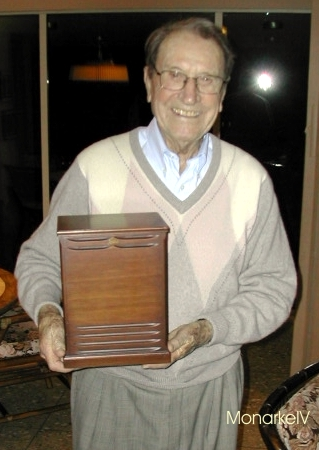 Don Leslie holding a model of a Leslie 122.  There were originally 2 of these scaled down models.  Picture courtesy of Harvey Olsen